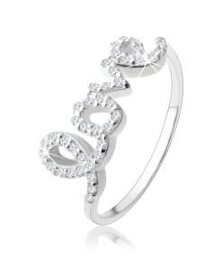 """Inel din argint 925, inscripţia """"love"""" încrustată cu zirconii transparente"""