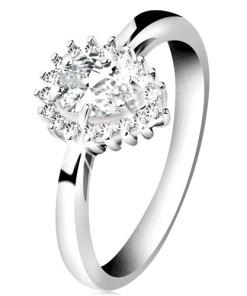 Inel din argint 925 placat cu rodiu, lacrimă din zirconii transparente - Marime inel: 50