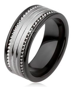 Inel din tungsten, ceramic, negru, cu suprafaţă argintie şi dungi