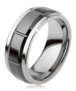 Inel din tungsten cu crestături, argintiu, suprafaţă neagră lucioasă