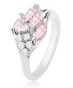Inel lucios argintiu, bobițe din zirconiu roz, zirconii transparente