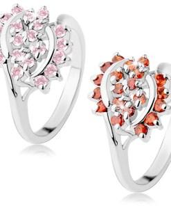 Inel lucios argintiu decorat cu zirconii decupate, arce lucioase - Marime inel: 52, Culoare: Roz