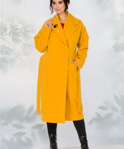 Palton LaDonna galben lejer cu cordon in talie detasabil