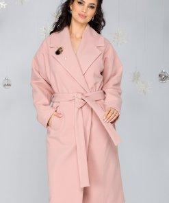 Palton LaDonna lejer roz prafuit cu cordon in talie detasabil