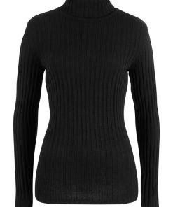 Bonprix Pulover tricotat cu guler rulat, bumbac reciclat - negru