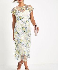Rochie midi cu model floral brodat - 2168982