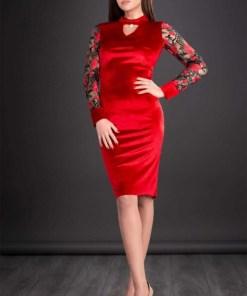 Rochie de seara din catifea cu broderie Iris rosu