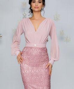 Rochie Elia roz cu bustul din voal si fusta din dantela