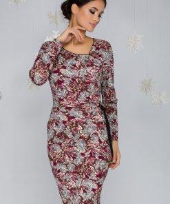 Rochie Leonard Collection cu imprimeu floral gri si magenta