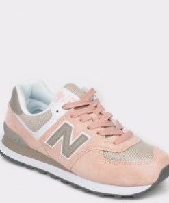 Pantofi sport NEW BALANCE roz, WL574, din material textil si piele naturala
