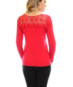 Pulover Elegant Lace Red
