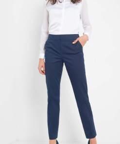 Pantaloni la dungă cu bordură Albastru