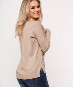 Bluza dama SunShine maro casual din tricot subtire cu buzunare in fata cu guler rotunjit