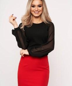 Bluza dama StarShinerS neagra eleganta cu un croi mulat din material usor elastic cu maneci din voal