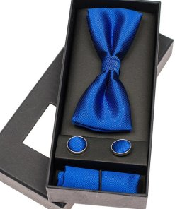 Set pentru barbat papion, butoni, batista albastra Bolf MSP01