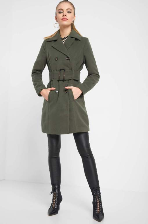 Palton cu nasturi și cordon Verde
