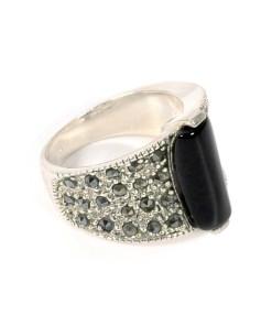 Inel argint cu onix negru, marime 53