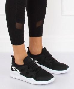 """Adidasi din material textil negru - """"WE LOVE"""""""