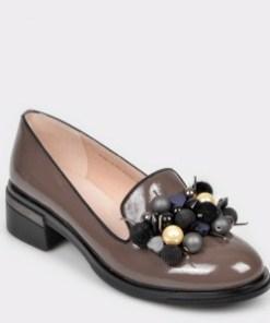 Pantofi EPICA gri, 8l2lrm1, din piele naturala lacuita