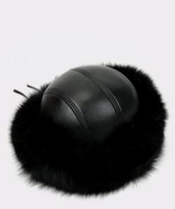 Caciula KLOP neagra, 103VIKA, din piele naturala