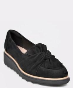 Pantofi CLARKS negri, Sharon Dasher, din piele intoarsa