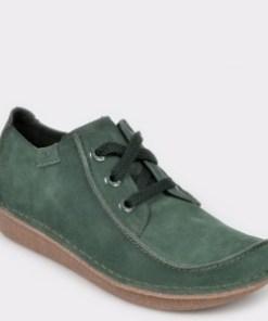 Pantofi CLARKS verzi, Funny Dream, din piele intoarsa