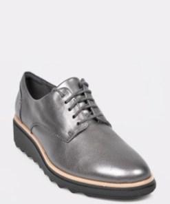 Pantofi CLARKS argintii, Sharon Noel, din piele naturala