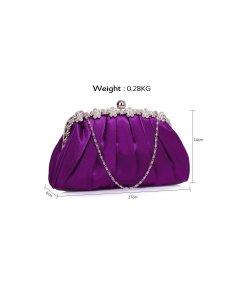 Clutch Sparkly violet din satin