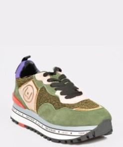 Pantofi sport LIU JO verzi, Maxiale, din material textil si piele naturala
