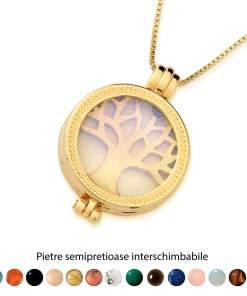 Pandantiv Magic Pendant - Tree of Life, placat cu aur, Secret Stone Collection, cu pietre semipretioase interschimbabile