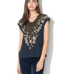 Tricou cu imprimeu floral si model 2in1 Onina