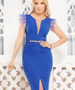Rochie de seara albastra Fofy cu pene