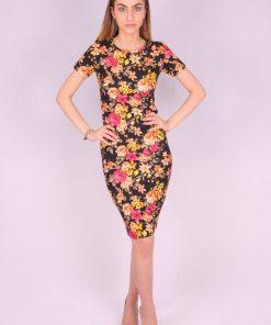 Rochie mulata model floral galben
