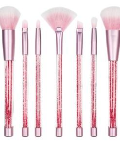 Set 7 pensule machiaj profesionale Pink Heart + Borseta Cadou