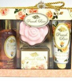Set cadou SPA French Rose (Gel de dus 150 ml, lotiune de corp 100 ml, sare de baie efervescenta 50 g si sapun)