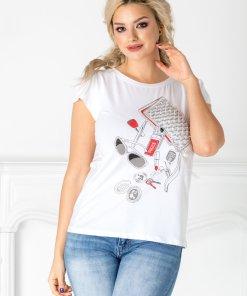 Tricou Vogue alb cu imprimeu fashion si perlute