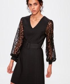 Rochie mini - Trendyol Black Lacy Belt Dress 1023022