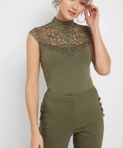 Bluză cu inserție de dantelă Verde