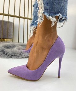 Pantofi Stiletto Dama Piele Ecologica Intoarsa Mov Calina B6725