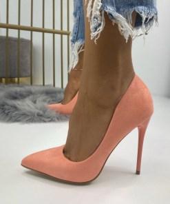 Pantofi Stiletto Dama Piele Ecologica Intoarsa Corai Calina B6727