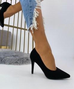 Pantofi Stiletto Dama Piele Ecologica Intoarsa Negri Arana B6894