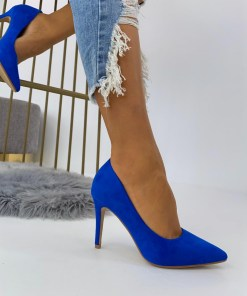 Pantofi Stiletto Dama Piele Ecologica Intoarsa Albastri Arana B6896