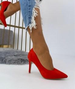 Pantofi Stiletto Dama Piele Ecologica Intoarsa Rosii Arana B6897