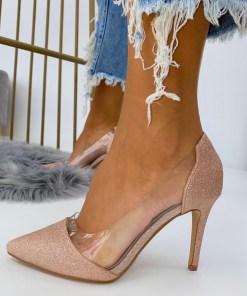 Pantofi Stiletto Dama Glitter Roz Auriu C-Thru B6906