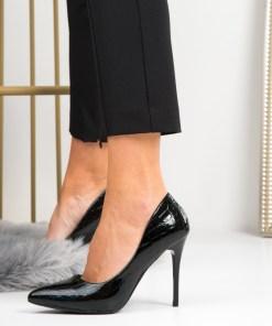 Pantofi Stiletto Dama Piele Ecologica Negre Emma B6939