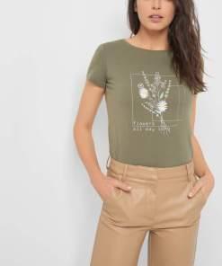 Tricou cu print și broderie Verde