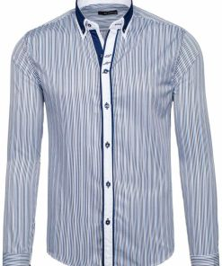 Camasa pentru barbat in dungi cu maneca lunga albastra Bolf 6855