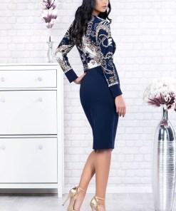 Rochie albastru-inchis eleganta midi tip creion din stofa cu maneci lungi si accesorizata cu cordon