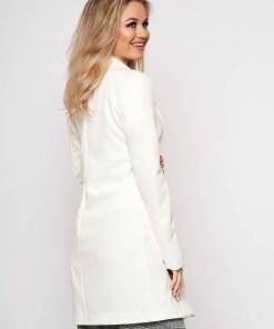 Sacou SunShine alb casual din stofa cu un croi drept si inchidere cu un nasture
