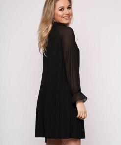 Rochie SunShine neagra eleganta scurta din voal plisat cu croi in a si maneci lungi